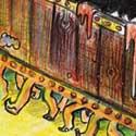 """Perdu en plein désert, tourmenté par des états d'âme et par une terrible gueule de bois, le fidèle Bagage magique aux milles et une patte du mage Rincevent... est furieux !!! Si en plus il faut se coltiner des gros lézards, alors c'est le bouquet !   Ptite illustration du livre """"Sourcellerie"""" de la série des """"Annales du Disque-monde"""" de Terry Pratchett"""